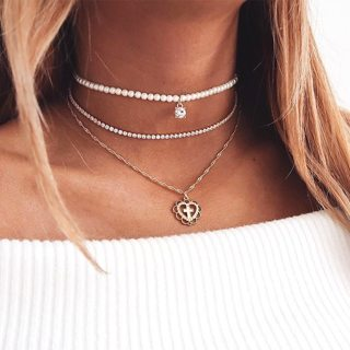 Bohemian Heart Cross Pearl Chain Pendant Necklace Multilayer Gold Necklace Women Wedding Party