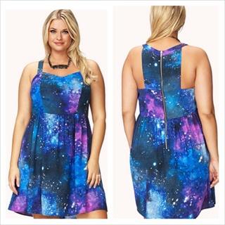 Free: New ~ Plus Size ~ Forever 21 ~ 2x ~ Galaxy Dress ~ Beautiful ...