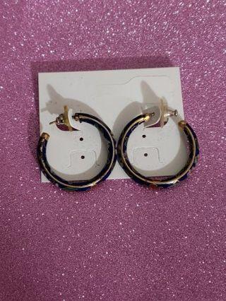Vtg Cloissoine Hoop Earring
