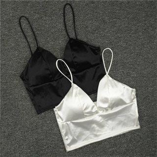 Sexy Lingerie Hot Silk Plunge Strappy Bras For Women Unpadded Bralette Sleeping Brassiere Wireless