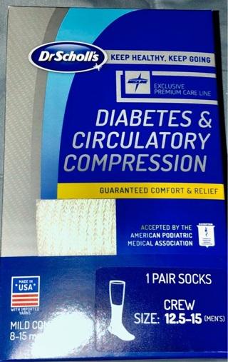 BN Pair Dr. Scholl's White Diabetic Crew Socks For Men. Sz 12-15. Non Binding. Helps Circulation