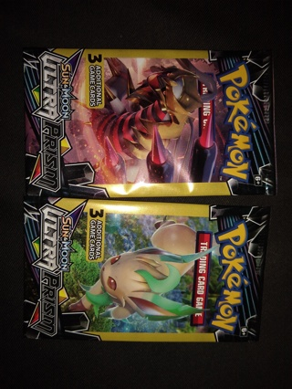 2 Pokemon Sun & Moon Ultra Prism Card Packs sealed free shipping