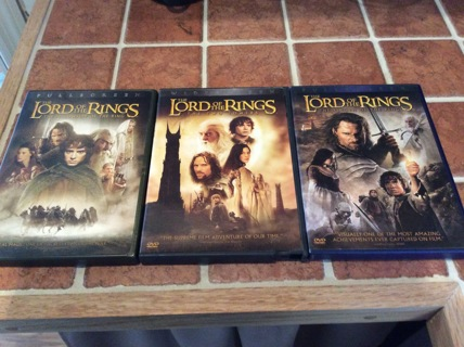 LORD OF THE RINGS TRILOGY DVD Movie Lot FELLOWSHIP OF THE RING- TWO TOWERS-RETURN OF THE KING