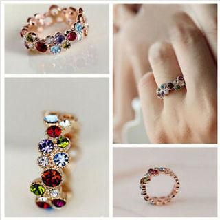 Stylish Womens Girls Cute Love Elegant Multicolor Flower Crystal Round Ring Gift