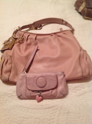 Free Juicy Couture Pink Leather Bag And Wristlet Wallet