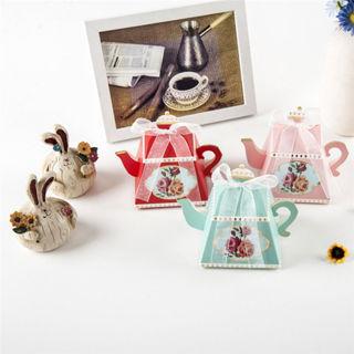 10 PCS Favor Ribbon Gift Box Candy Boxes Teapot Wedding Birthday Party Decor