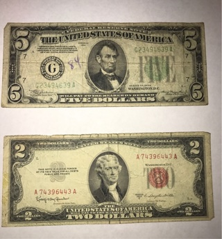 $2 1953C US Note $5 1934 Federal Reserve Note 9 1963 $1 Barr/Dillon Notes
