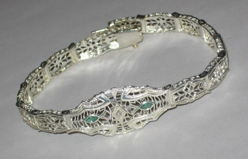 Sterking Emerald Filigree Bracelet