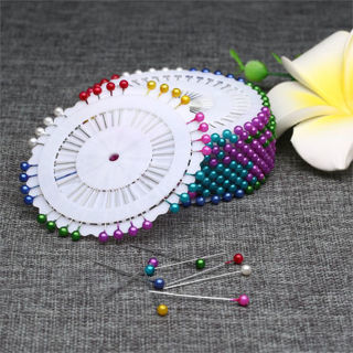 [GIN FOR FREE SHIPPING] Dressmaking Straight Pin Wheel Sewing Craft Pearl Head Colorful