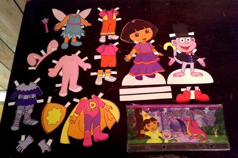 Dora the Explorer & Boots Paper Dolls + Pencil Bag!