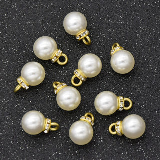 20Pcs Diamond Pearl Charm Pendant For DIY Jewelry Making Gifts
