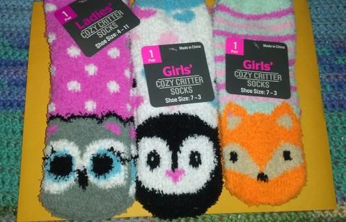 Ladies/girls. COZY CRITTER socks-✔✔✔✔✔✔