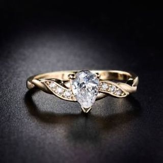 18K Gold Filled White Cubic Zirconia Crystal Love Heart Cheap Wedding Ring Sz5-9