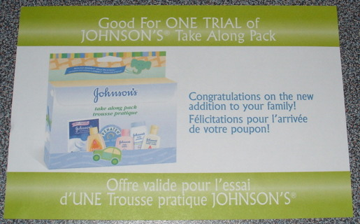 FPC Coupon Johnson's Baby Take Along Pack FREE COUPON +FREE SHIPPING + Canada only!