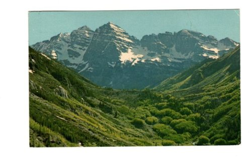 Vintage Used Postcard: 1966 Maroon Peaks, near Aspen, CO