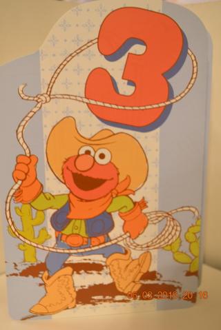 ****COWBOY ELMO BIRTHDAY CARD FOR 3 YR OLD W/ENVELOPE***FREE SHIPPING