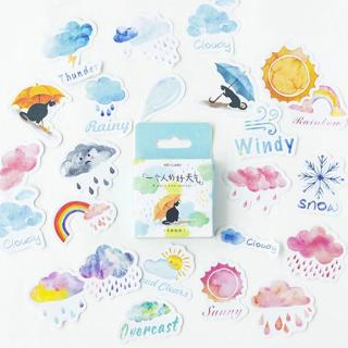 46PCS/box Cute Weather Diary Paper Lable Sealing Stickers Crafts And Scrapbooking Decorative Lifel