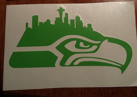Free Seattle Seahawks Skyline Decal Sticker In Lime Green Superbowl Champs