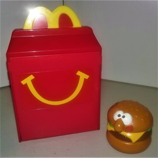 2018 McDonald's Battleship game with 1989 Hallmark plastic hamburger