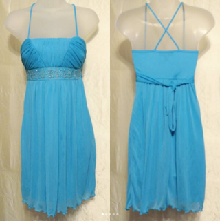 """City Triangles~❤PRETTY❤ Light Blue Embroidery DESIGN """"X"""" Strap RUCHED Mesh STRETCH Party DRESS ~XS-S"""