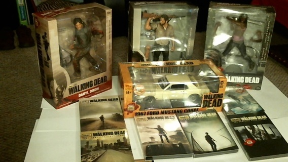 """""""AMC'S WALKING DEAD"""" New Sealed DVD'S Seasons 1-6, 3 -10-inch Figures & 1:18 Scale 1967 Ford Mustang"""