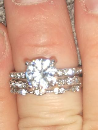 Beautiful 2 Piece Sterling Silver White Sapphire Diamond Band Set! + Much More! See Details!