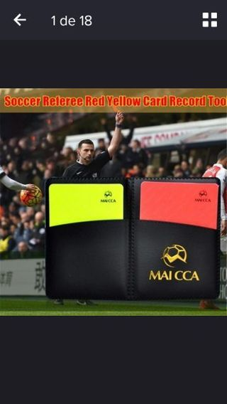 Soccer Referee wallet with red card and yellow card.