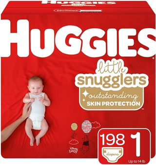 Huggies Little Snugglers Baby Diapers, Size 1, 198 Ct