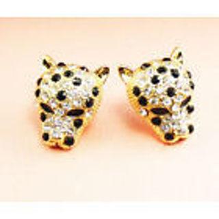 NEW Crystal Leopard Head Stud Earrings