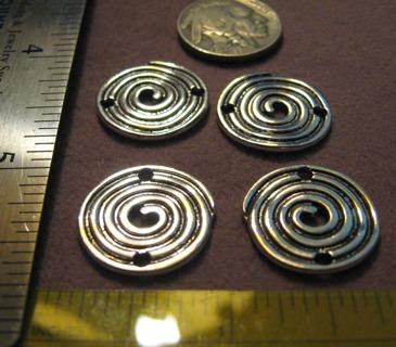 4 Silvertone Pewter Spiral Connectors ~ Designer Quality