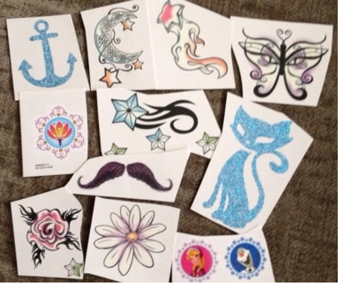 Bundle of stickers and tattoos