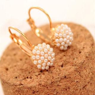 Korean Women Pearl Beads Ear Stud Earrings Fashion Wedding Party Jewelry Gif
