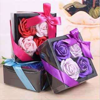 Colorful Romantic Bath Wedding Party Gift Box 4 Rose Soap