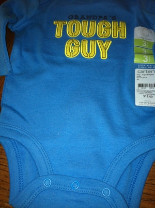 NEW WITH TAG'S - GRANDPA'S TOUGH GUY - LONG SLEEVE ONEISE - 3 MONTHS