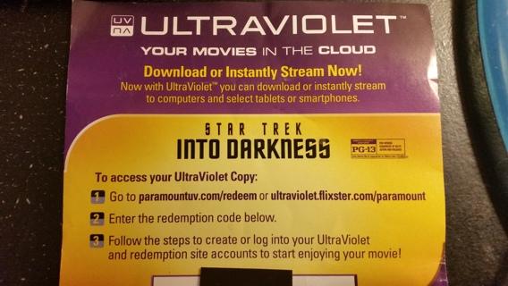 STAR TREK Into The Darkness UltraViolet code exp. 9/10/15
