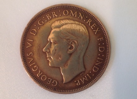 Free: Great Britain 1944 Large One Penny Coin KING GEORGIVS