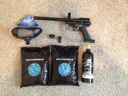 Spyder-Elite Paintball Gun + 1,000 Paintballs + 20 oz. CO2 Tank + Hopper