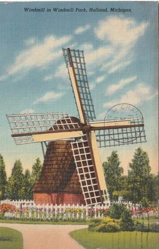 Vintage Used Postcard: 1945 Windmill at Windmill Park, Holland, MI
