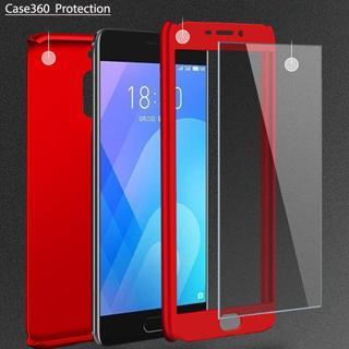 3-in-1 Plastic Case + Glass Protect Full Cover 360 for Meizu M6 M6S M5 Note M3 Note Cover Meizu Pr