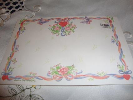 Red, Flowers & Butterflies Heart Postcard ~ Free Shipping