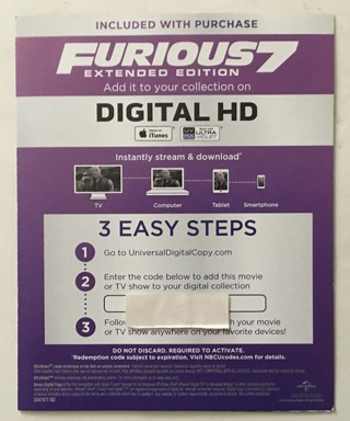 The Fast And The Furious 7 Extended Edition Movie Digital HD UV or iTunes Digital Copy Code Only