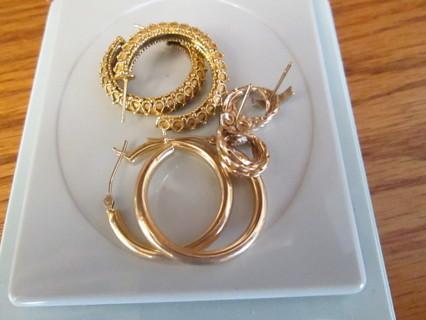 3 Pair 14k Gold Earrings Over 9 Grams