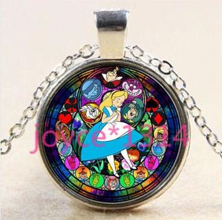 Alice in Wonderland Stained Cabochon silver Glass Chain Pendant Necklace #2655