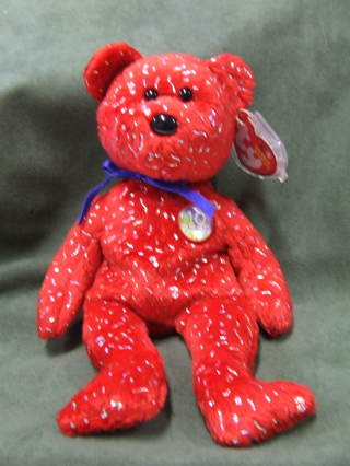Free  TY Original Beanie Babies Decade the 10th Anniversary Red Bear ... 340afce1e13