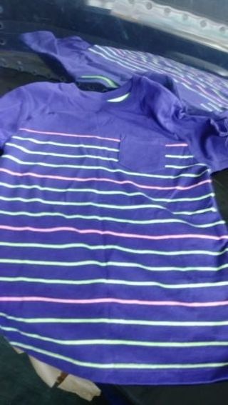 Target- Cat & Jack- striped front Purple tee- size XS 4/5