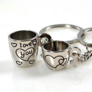2pcs Sweet Love Cup Heart Key Ring Keyfob Couples Romantic Keychain Lover Gift