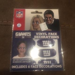 NY Giants NFL vinyl face stickers NEW