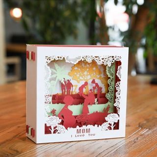 [GIN FOR FREE SHIPPING] 3D Pop Up I Love Mom Greeting Cards Birthday Christmas Gift