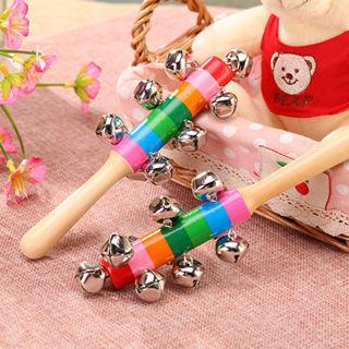 Wooden Rattle Baby Children Kids Handbells Developmental Toy Bed Bells Low Price