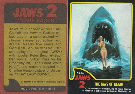 Topps JAWS 2 #59 Trading Card VF-NM condition
